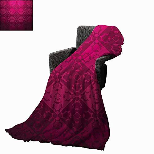 - vanfan-home Magenta Weighted Blanket Adult,Ornamental Vintage Feminine Rectangular Forms Background Damask Dated Design Soft Fuzzy Cozy Lightweight Blankets (60