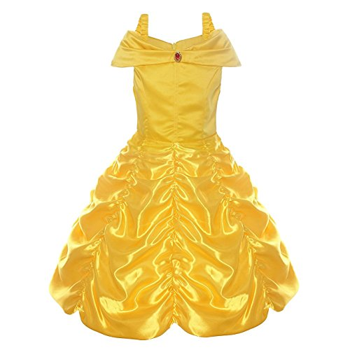 Princess Belle Off Shoulder Layered Costume Dress Fancy Party Dress for Little Girls (5-6T) Yellow -