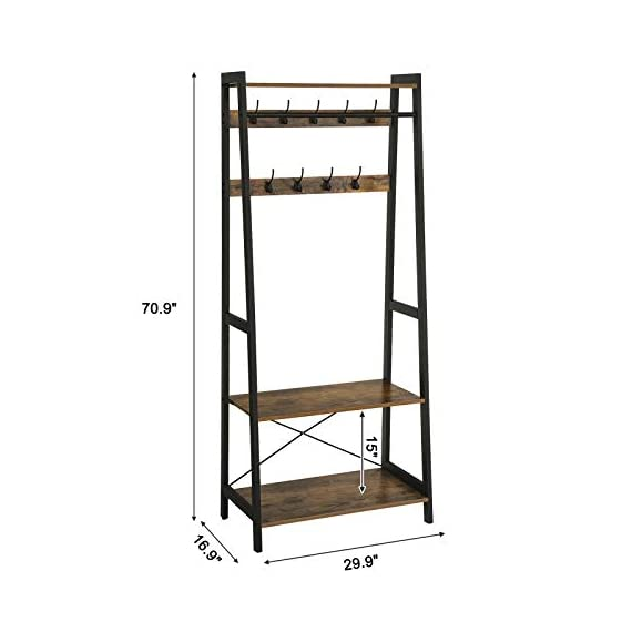 VASAGLE Industrial Coat Rack 2-Tiers, Clothing Garment Rack, Storage Shelf with 9 Heavy Duty Hooks, for Living Room Bedroom ULGR13BX - FIRST IMPRESSIONS MATTER: Bring your guests to your home with a cheerful Welcome! Take off their coat and hang it on your new coat rack in the hallway; the exciting mix of vintage and industrial design styles will certainly appeals your visitors EVERYTHING UNDER ONE ROOF: This coat rack integrates a clothes rack, shoe rack and storage rack all in one unit; coat, boots, bag and keys are always at hand with easy access BUILT TO LAST: The combination of a sturdy metal frame and high-strength chipboard ensures a high stability of the coat rack even when loaded with heavy winter jackets; anti-tip kit for extra support - hall-trees, entryway-furniture-decor, entryway-laundry-room - 41Ko558bbPL. SS570  -