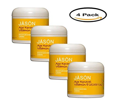 PACK OF 4 - Jason Age Renewal Vitamin E 25,000 I.U. Moisturizing Creme, 4 oz