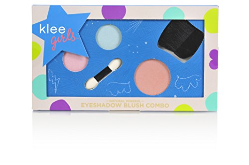 Luna Star Naturals Klee Girls Makeup Combo, Times Square Flair Baby Blue/Pink Shadow/Sandy Pink Blush, 3 - Kids Times Square