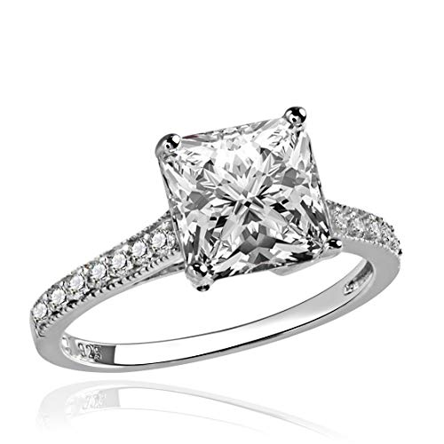 GemsChest Sterling Silver 2.75 Ct Princess-Cut Cubic Zirconia Bridal Engagement Ring Sz 6
