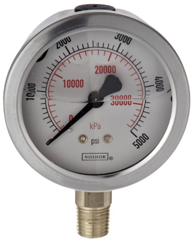 """NOSHOK 900 Series Stainless Steel Liquid Filled Dual Scale Dial Indicating Pressure Gauge with Bottom Mount, 4"""" Dial, +/-1% Accuracy, 0-30 psi Pressure Range"""