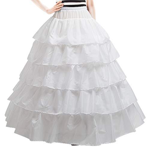 (Underskirt Bridal Petticoat Ball Gown Petticoat Tulle Underskirt Crinoline Petticoat 6 Hoop (White Lotus Leaf) )