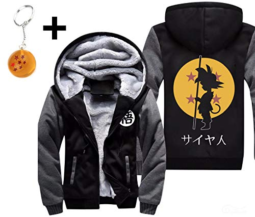 (1Bar Dragon Ball Z Thicken Hoodie Jacket Fleece Interior Cosplay Costume Top Plus Free Dragon Ball Z Keychain Black & Charcoal, (XL))