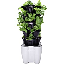 Smart Farm - Automatic Self Watering Garden - Grow Fresh Healthy Food Virtually Anywhere Year Round - Soil or Hydroponic Vertical Tower Gardening System By Mr Stacky (Standard Kit, Black)