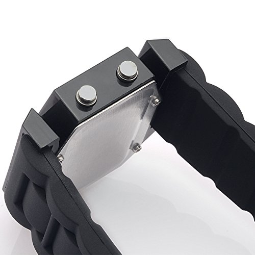Sanwood Cool Mens Oversized Light Digital Rubber Wrist Watch Black