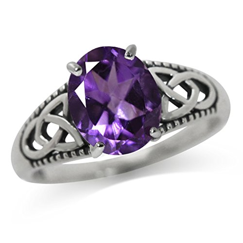 2.36ct. Natural African Amethyst 925 Sterling Silver Triquetra Celtic Knot Solitaire Ring Size 9