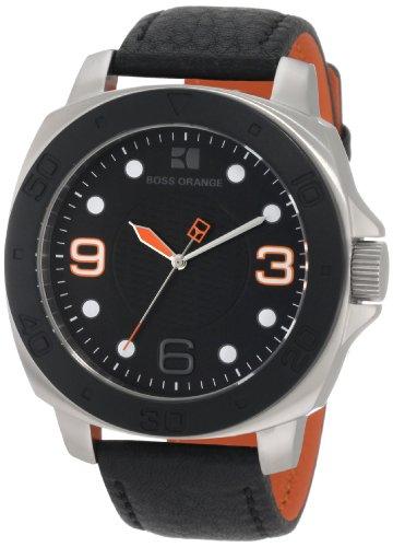 Men's Black Hugo Boss Orange Leather Strap Watch 1512669