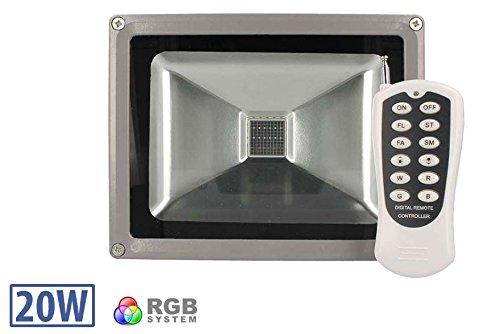Proiettore faro led rgb cob 20w esterno ip65 con telecomando