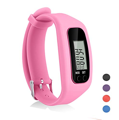 Coch Fitness Tracker Watch, Simply Operation Walking Running Pedometer with Calorie Burning and Steps Counting (Pink)