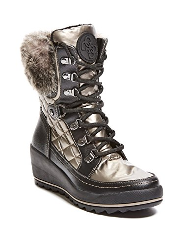 GUESS Women's Leland Mid Calf Boot, Pewter, 8 Medium - Guess Boots Grey
