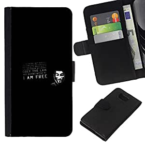 NEECELL GIFT forCITY // Billetera de cuero Caso Cubierta de protección Carcasa / Leather Wallet Case for Samsung ALPHA G850 // V para la máscara de la venganza obedecer la ley