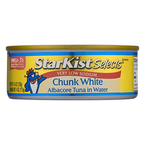 Starkist Tuna Water - StarKist Selects, Very Low Sodium Chunk White Albacore Tuna in Water, 4.5 Ounce (Pack of 12)