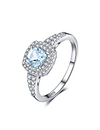 JewelryPalace Cushion Cut Natural Aquamarine Halo Engagement Ring 925 Sterling Silver