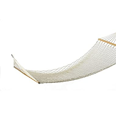 Pinty 59  2 Person Cotton Rope Hammock Swinging Bed with Spreader Bar for Outdoor Patio & Yard