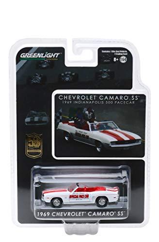(1969 Chevrolet Camaro SS Convertible Pace Car White Mario Andretti 50th Anniv. Indianapolis 500 Champion 1/64 Diecast Model Car by Greenlight 30082)