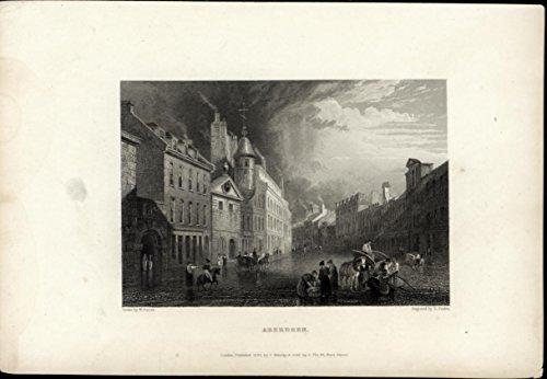 Aberdeen Street Scene Cobblestone Horses 1833 original antique view print