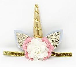 Posh Peanut Unicorn Childrens Party Hat Horn Glitter Elastic Headband Spiral Unicorn Horn Cosplay (Blush Pink/Ivory)