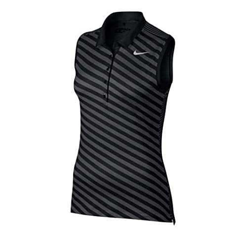 Nike Precision Print SL Polo de golf per Donna Nero Black   Dark Grey    Metall 26aa8a364a2