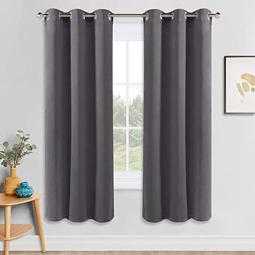 PONY DANCE Gray Blackout Curtains - Solid Thermal Insulated Blackout Curtain Panels Light Blocking Draperies for Living Room Window Treatments Decor, 42 Wide by 72 inch Long, Grey Color, 2 Panels