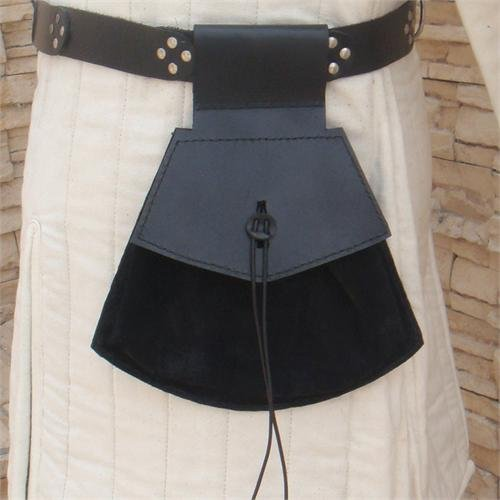Deluxe Adult Costumes - Medieval Renaissance peasant pirate leather pouch.