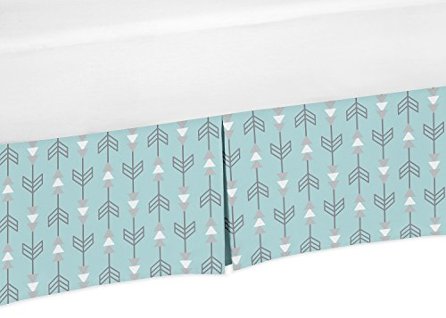 Sweet Jojo Designs Blue and Grey Arrow Crib Bed Skirt Dust Ruffle for Boys or Girls Gender Neutral Earth Sky Collection Baby Bedding Sets by Sweet Jojo Designs