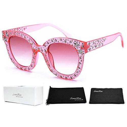 Cats Eye Rhinestone Sunglasses - SamuRita Vintage Star Rhinestone Cat Eye Sunglasses Novelty Celebrity Shades(Pink)