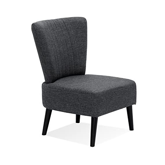 Furinno Euro Modern Armless Fabric Accent Chair, Dark Grey - Simple, comfortable and elegant fabric Chair With wooden legs Enhanced comfort: thick Seat and Back Cushion with premium quality fabric cover Product Dimension: 22. 5(W)x19. 0(D)x32. 3(H) inches. Seat dimension: 21. 0(W)x15. 0(H)x19. 0(D) inches. Leg height- bottom to top: 8. 0 inches - living-room-furniture, living-room, accent-chairs - 41Ko9JrsSwL. SS570  -