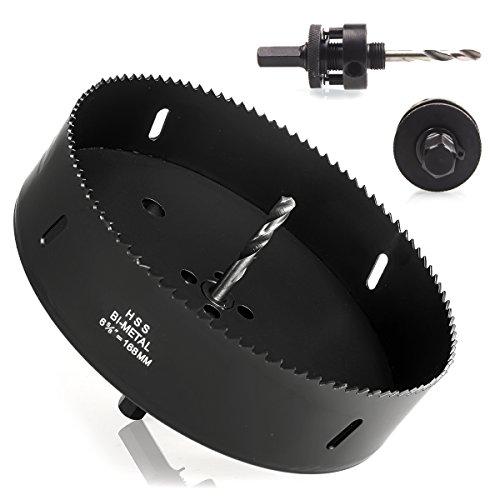 Eliseo 6-5/8 Inch Hole Saw with Heavy Duty Arbor,HSS Bi-Metal Holesaw Drill Bits for Can Light Recessed Light:Smooth and Fast Cutting in Wood,Plastic, Drywall, Thin Metal(Black)