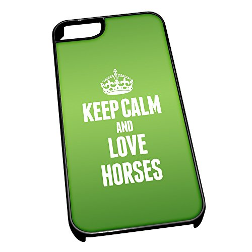 Nero cover per iPhone 5/5S 2440verde Keep Calm and Love Horses