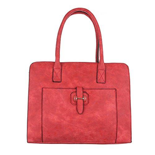 iTal-dEsiGn Damentasche Mittelgroße Schultertasche Tragetasche Handtasche Kunstleder TA-JZ6150 Rot NsfDOO