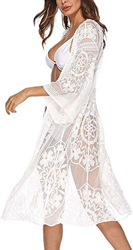 Sundress Swim suit 2019 Cover up Women half sleeve Floral Lace Embroidery Festival Christmas White Blouse (one size, 2011)