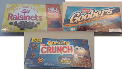 - Movie Theater Candy Variety Bundle (Pack of 6) includes 2-boxes Nestle Buncha Crunch, 3.2 oz + 2-boxes Raisinets, 2.54 oz + 2-boxes Goobers, 3.5 oz