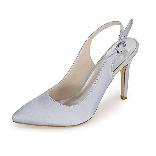Large Evening 20 amp; Silver Women F High Wedding 0608 L Comfortable Dress Satin Heels YC Yards Wedding Shoes qA61wPZx