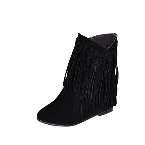 fereshte Ladies Womens Frosted Round-Toe Tassels Anti-Slip Hidden Heel Ankle Boots Black hkdXRn