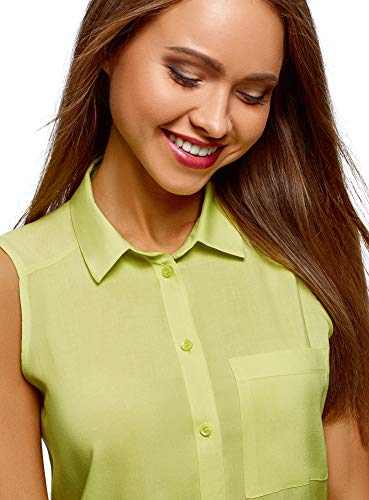 Verde Top da Donna Colletto Viscosa oodji Camicia 6a00n Ultra in con ZT4wzx6qA