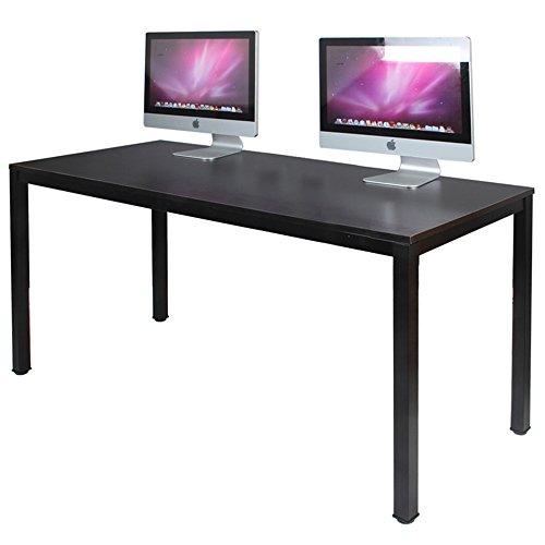 DlandHome 63 X-Large Computer Desk, Composite Wood Board, Decent Steady Home Office Desk Workstation Table, BS1-160BB Black Walnut Black Legs, 1 Pack