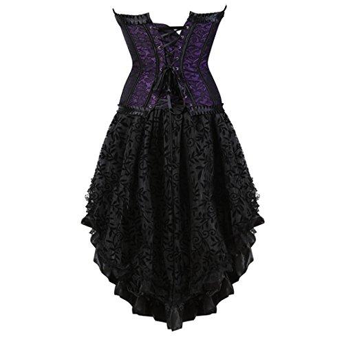 Kranchungel Steampunk Corset Skirt Renaissance Corset Dress for Women Gothic Burlesque Corsets Costumes