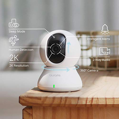 Security Camera 2K, blurams WiFi Camera Nanny Cam Pet Camera w/Two-Way Audio, Sound/Person Detection, Night Vision, Siren, Cloud&Local Storage, Works with Alexa & Google Assistant & IFTTT & Siri