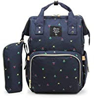 Beebeerun Large Capacity Multi-Function Travel Open Design and Waterproof Fabric Dark Blue Mummy Diaper Backpack