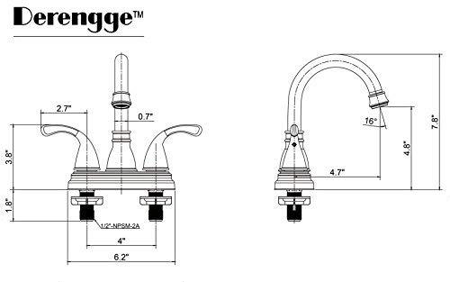 Derengge EW-045-BH NB Two-Handle Oil Rubbed Bronze Bathroom Faucet with Pop up Drain,cUPC NSF AB1953 Lead Free Weco Kitchen and Bath Industry Co Ltd.