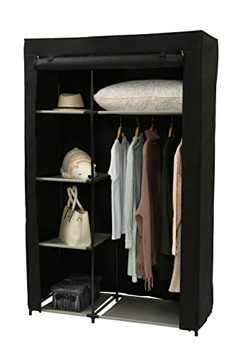 "Homebi Clothes Closet Portable Wardrobe Durable Clothes Storage Non-Woven Fabric Wardrobe Storage Organizer with Hanging Rod and 6 Shelves,41.73""W x 17.72"" D x 63.35""H (Black)"