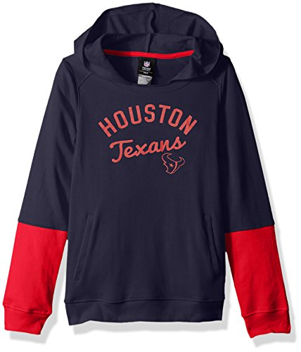 """NFL Girls 7-16""""Game Day Pullover Hoodie-Deep Obsidian-L(14), Houston Texans"""