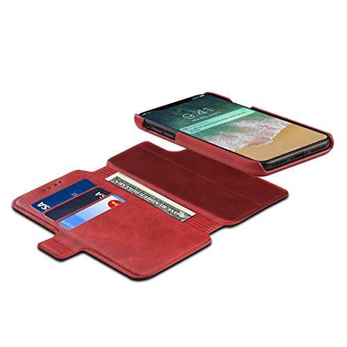 Scheam iPhone X Flip Cover, Case, Skins Card Slot [Stand Feature] Leather Wallet Case Vintage Book Style Magnetic Protective Cover Holder for iPhone X - Red by Scheam (Image #8)