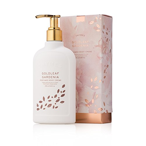 Thymes - Goldleaf Gardenia Perfumed Body Crème with Pump - Deeply Moisturizing Floral Scented Cream - 9.25 oz