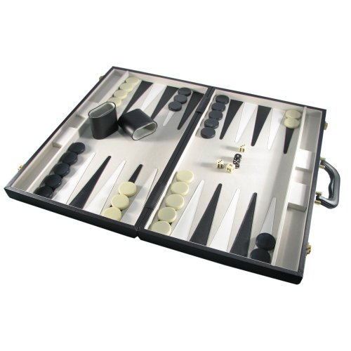 (CHH 21'' Black Leatherette Attache Backgammon Set)