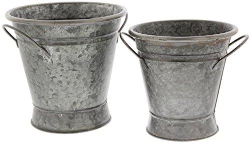 Park Hill Set of 2 Short Stem Galvanized Metal Flower Bucket Planters, 7