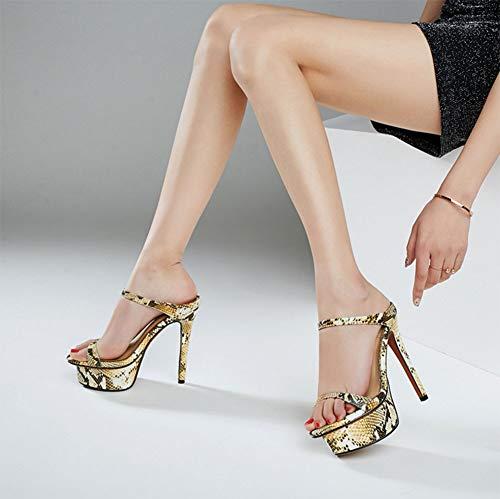 A Americano Cuero Alto De Cabeza Mujer Agua Moda Aguja Plataforma Alta Súper Prueba Stiletto Y Sandalias Zapatos Mujer 2 Con Tacón Europeo Redonda qYO4wvO
