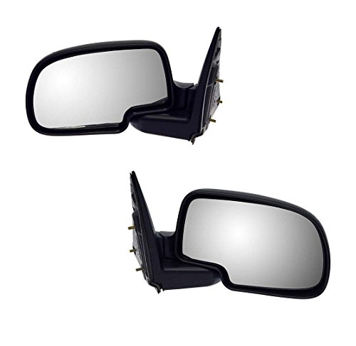 1999-2006 Chevrolet/Chevy Silverado 1500 2500 Pickup Truck, Suburban, Tahoe GMC Sierra, Yukon Manual Folding Black Textured Rear View Mirror Pair Set Left Driver AND Right Passenger Side (1999 99 2000 00 2001 01 2002 02 2003 03 2004 04 2005 - Truck 2500 2000 Gmc